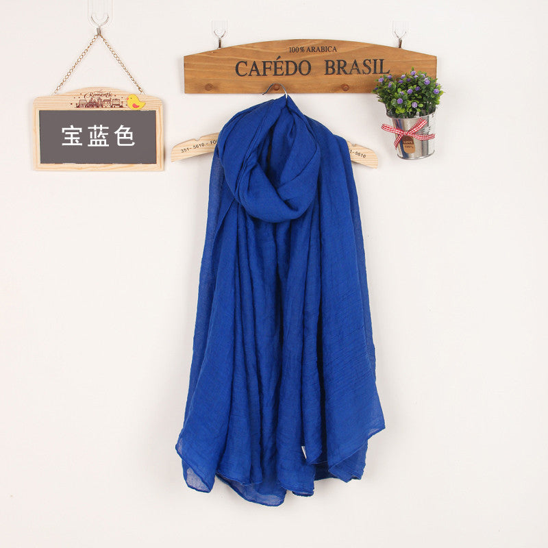 JKK Mart Winter and Autumn Scarf Women High Quality Shawls And Scarves Linen Cot navy blue, Scarves - JKK Mart, JKK Mart - 3