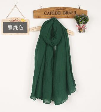 JKK Mart Winter and Autumn Scarf Women High Quality Shawls And Scarves Linen Cot dark green, Scarves - JKK Mart, JKK Mart - 16