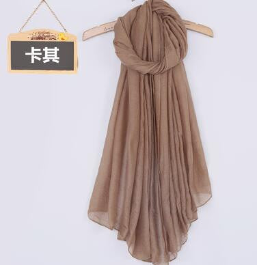 JKK Mart Winter and Autumn Scarf Women High Quality Shawls And Scarves Linen Cot khaki, Scarves - JKK Mart, JKK Mart - 21