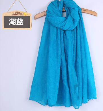 JKK Mart Winter and Autumn Scarf Women High Quality Shawls And Scarves Linen Cot blue, Scarves - JKK Mart, JKK Mart - 9