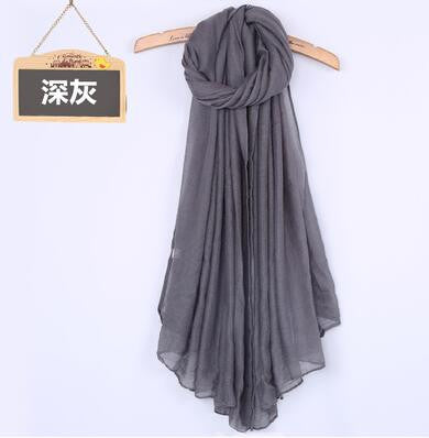 JKK Mart Winter and Autumn Scarf Women High Quality Shawls And Scarves Linen Cot dark gray, Scarves - JKK Mart, JKK Mart - 2