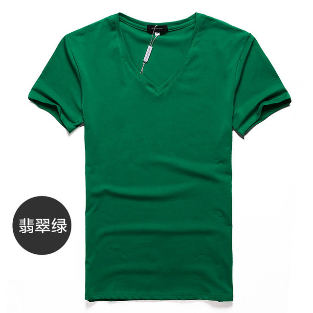 Men's T-Shirt Slim Fit V-Neck Men Short Sleeve cotton Casual Tee Tops clothing shirt