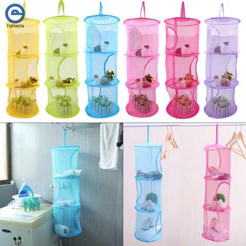 1 Pc Mesh Fabric Hanging Laundry Basket Storage Toy Washing Dirty Clothes Sundries Baskets Box