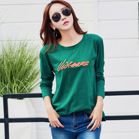 45f5bd3acf7fea Women Tops Tees Long Sleeve T-shirts Letter Embroidery Cotton Female shirt