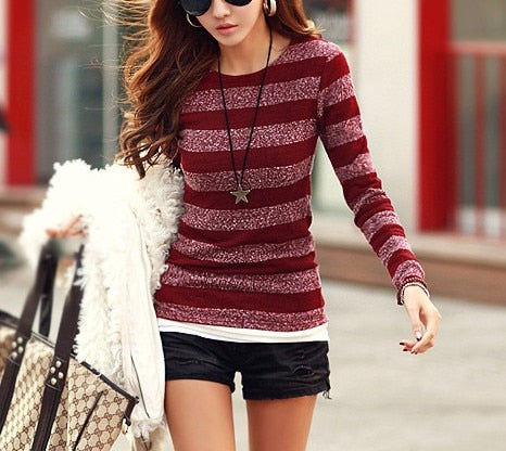 Women Sweater Stripe Print O-neck Knitted Pullover Clothes