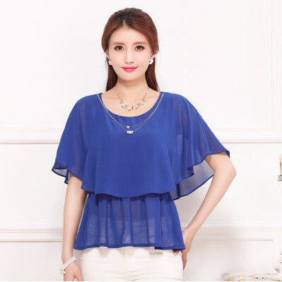 Bat sleeve chiffon blouse Women chiffon shirts plus size top