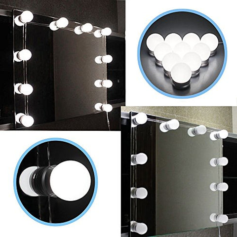 1 Pc Hollywood Style LED Vanity Mirror Kit with Dimmable Light Bulbs Lighting Fixture Strip for Makeup Vanity Table Set
