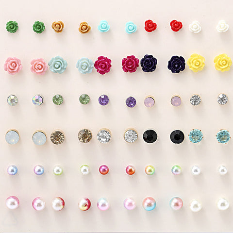 30 Pairs/set Classic Women's Round Ball Metal Pearl Earrings Girl Gifts Crystal Stud Earring Sets Mix Jewellery