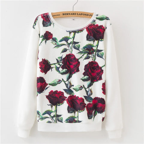 Women Sweater Floral Harajuku Print Pullover Sweaters