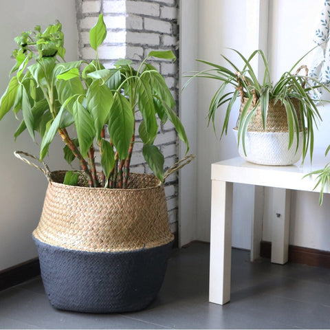 1 Pc Handmade Bamboo Storage Baskets Fordable Laundry Straw Patchwork Wicker Rattan Belly Garden Flower Pot Planter Basket