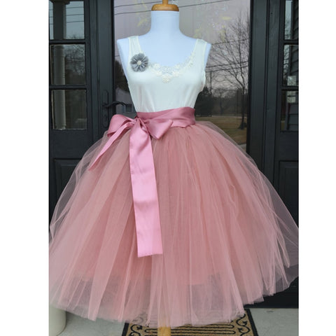 Women's Layers Fashion Tulle Pleated Tutu Skirts Lolita Petticoat Bridesmaids Vintage Midi Skirt