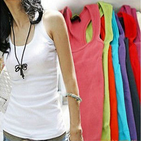 Women Tank Tops Sleeveless Jersey Cotton Camis Tees Vest