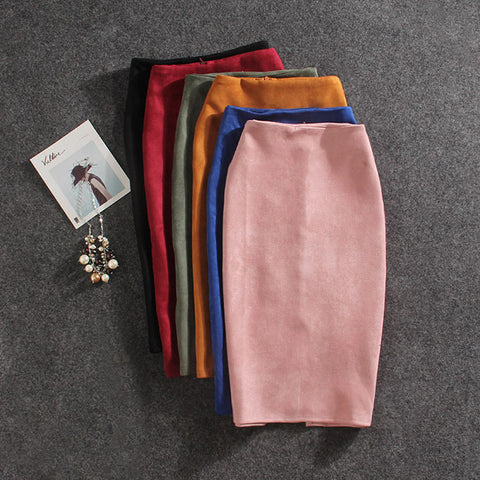 Women Skirts Plus Size Knee-Length Pencil Suede Split Skirt
