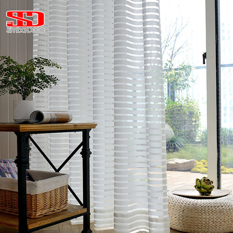 1 Pc Modern Striped Tulle Curtains for Living Room White Voile Short Sheer Curtain fo