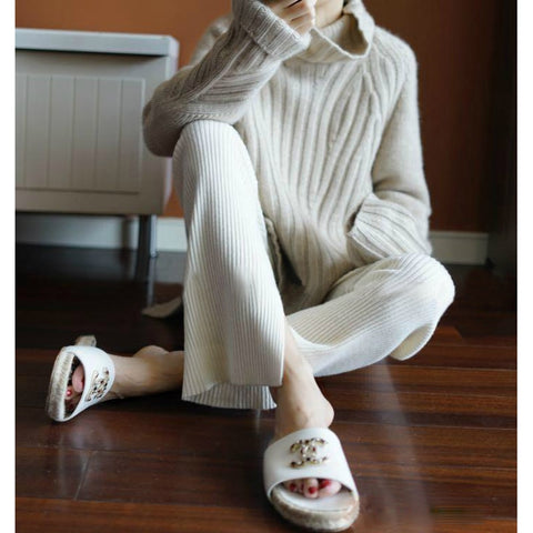 Women sweaters turtleneck cashmere knitted pullovers Loose tops