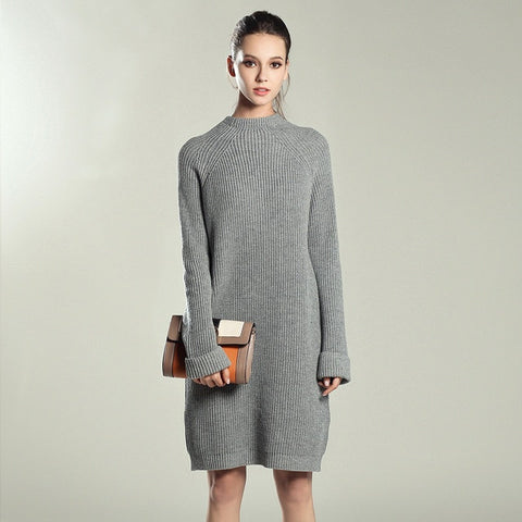 Knitted Cotton Sweater Dresses Women Loose O-neck Pullover