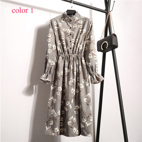 Corduroy Floral Print Women Elastic Waist Dress Stand Collar Dresses
