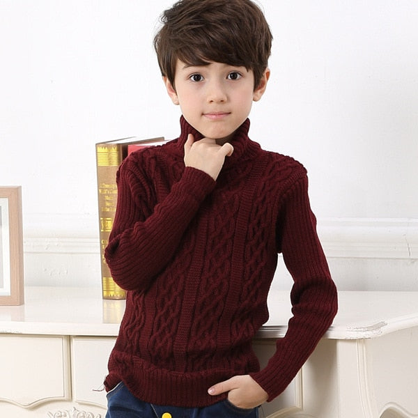 074e3adcd7a0 Boys Autumn Winter Clothing Teen Kids Fashion Turtleneck Sweater ...