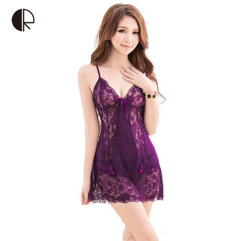 New Arrival Women's Fashion Sexy Lace Hallow Out Slip Sleeping Dress Nightgowns - JKK Mart
