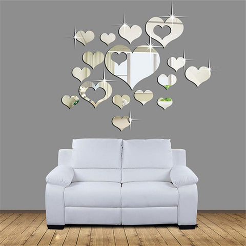 1 Pc 3D Mirror Love Hearts Wall Stickers Living Room Modern Style Home Art Mural Decor Removable