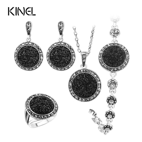 Black Broken Stone Wedding Jewelry Sets Earrings For Women Unique Bohemia Silver Plated Jewelry Engagement RingRing - JKK Mart