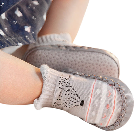 One Pair Baby Cartoon Newborn Girls Boys Anti-Slip Socks First Walkers soft bott