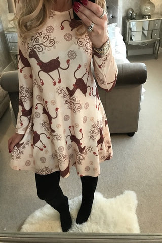Mini Dress Women Long Sleeve Floral Plus Size Dresses