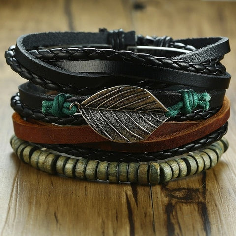 4Pcs/ Set Men Women Braided Wrap Leather Bracelets Vintage Wooden Beads Ethnic Tribal Wristbands Rudder