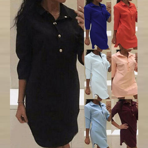 7 Colors Women Shirt Dress Tunic Top Long Sleeve Mini Dresses