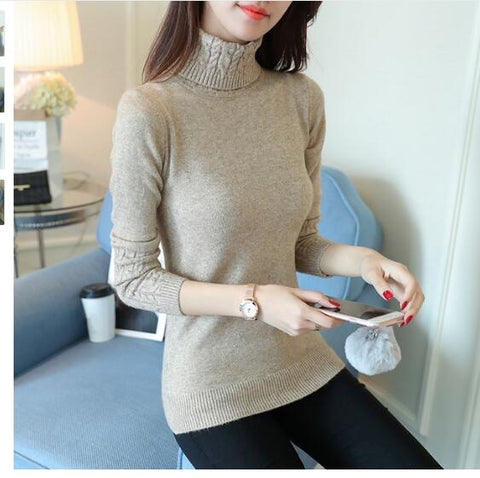 Women Sweaters Knitted Pull Turtleneck Poncho Pullovers