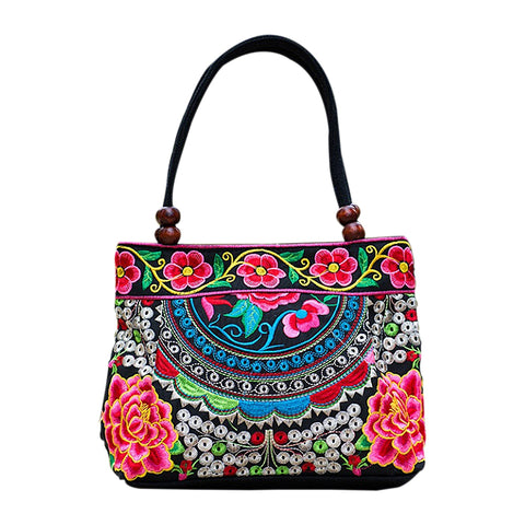 Women Handbag Embroidery Handmade Flowers Tote Shoulder Bags