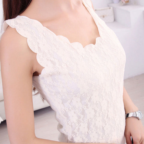Sleeveless Women Tank Tops Lace Crochet Embroidery Camisole