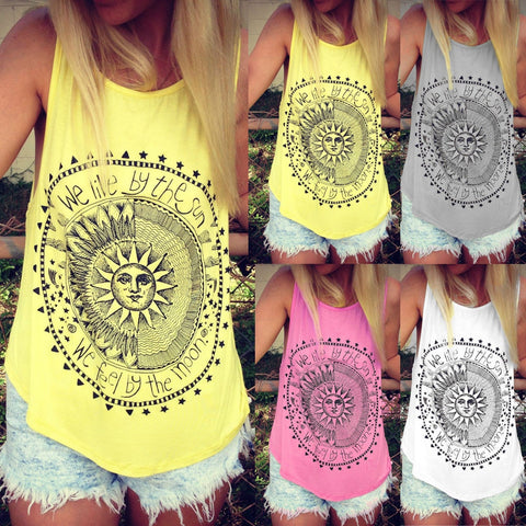 Women Tank-sleeveless Round Neck Loose Singlets Vest