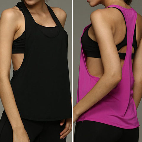 Women Summer Tank Tops Dry Quick Yoga Shirts Singlet Running Training Shirts Loose Gym Fitness Sport Sleeveless Vest