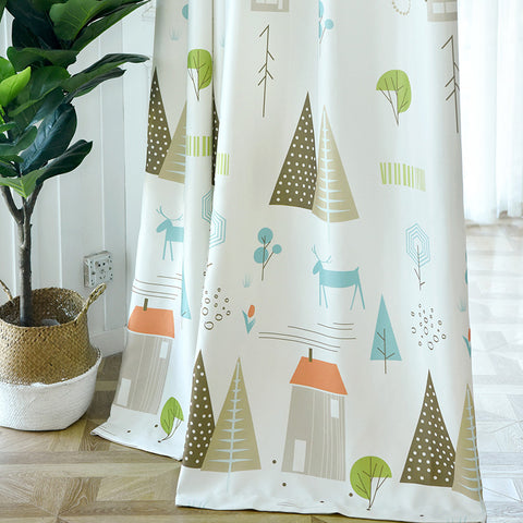 1 Pc Cartoon Tree Printed Curtains for Bedroom Children Sheer Tulle Curtain Fabric fo