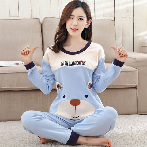 Women Pajamas Set Thicken Cotton Pyjamas Long Sleepwear