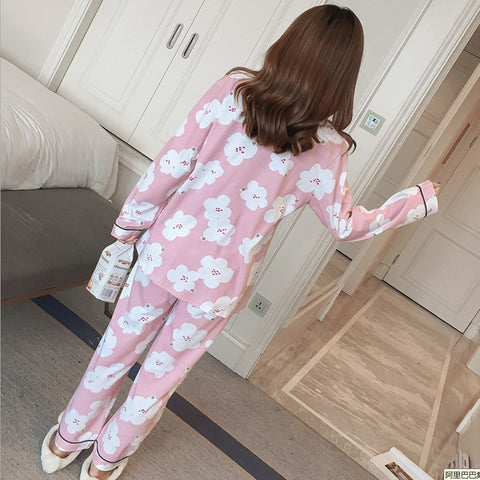 Women Pajama Sets Cotton Pyjamas Sleepwear Cat pajama set