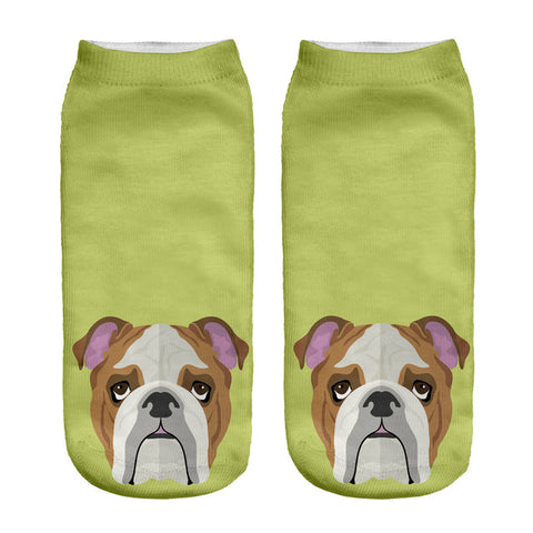 Animal Dog 3D Printed Ankle Women Socks