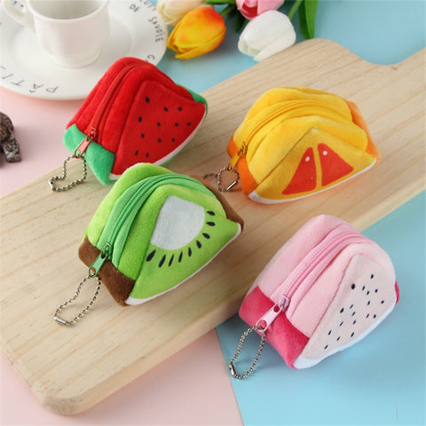 Mini Cartoon Children Plush Fruit Coin Wallet Coin Hanging Bag
