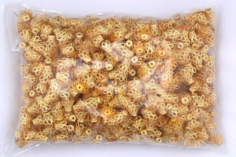 200pcs Gold Tone Flower Bead Caps Jewelry Making Findings