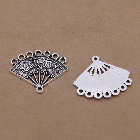 25pcs Antique Silver Paper Fan Connector Charms Pendant Jewelry Making
