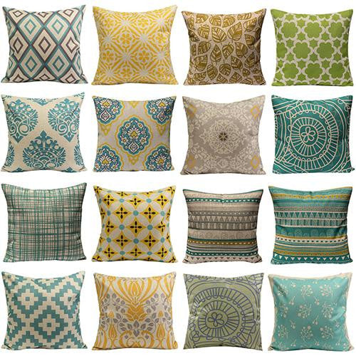 JKKMart Vintage Geometric Flower Cotton Linen Throw Pillow Case Cushion Cover Home Decor Art , Pillow - JKK Mart, JKK Mart - 1