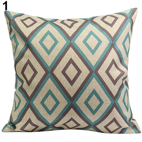 JKKMart Vintage Geometric Flower Cotton Linen Throw Pillow Case Cushion Cover Home Decor Art 1, Pillow - JKK Mart, JKK Mart - 4