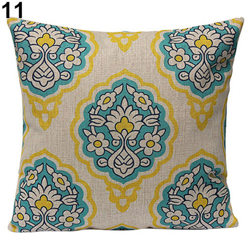 JKKMart Vintage Geometric Flower Cotton Linen Throw Pillow Case Cushion Cover Home Decor Art 11, Pillow - JKK Mart, JKK Mart - 6