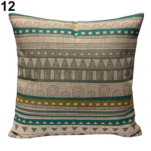 JKKMart Vintage Geometric Flower Cotton Linen Throw Pillow Case Cushion Cover Home Decor Art 12, Pillow - JKK Mart, JKK Mart - 15