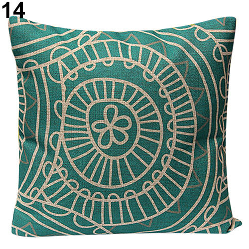 JKKMart Vintage Geometric Flower Cotton Linen Throw Pillow Case Cushion Cover Home Decor Art 14, Pillow - JKK Mart, JKK Mart - 7