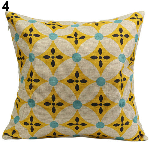 JKKMart Vintage Geometric Flower Cotton Linen Throw Pillow Case Cushion Cover Home Decor Art 4, Pillow - JKK Mart, JKK Mart - 16