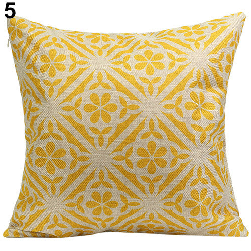 JKKMart Vintage Geometric Flower Cotton Linen Throw Pillow Case Cushion Cover Home Decor Art 5, Pillow - JKK Mart, JKK Mart - 11