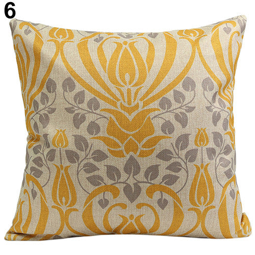 JKKMart Vintage Geometric Flower Cotton Linen Throw Pillow Case Cushion Cover Home Decor Art 6, Pillow - JKK Mart, JKK Mart - 12