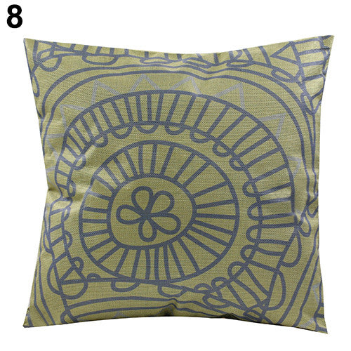JKKMart Vintage Geometric Flower Cotton Linen Throw Pillow Case Cushion Cover Home Decor Art 8, Pillow - JKK Mart, JKK Mart - 9